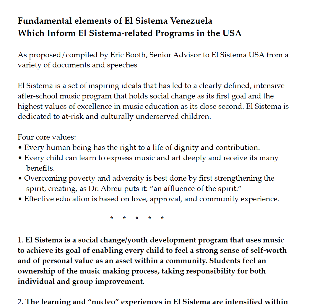 articles essays and speeches relating to el sistema el sistema fundamentals basic