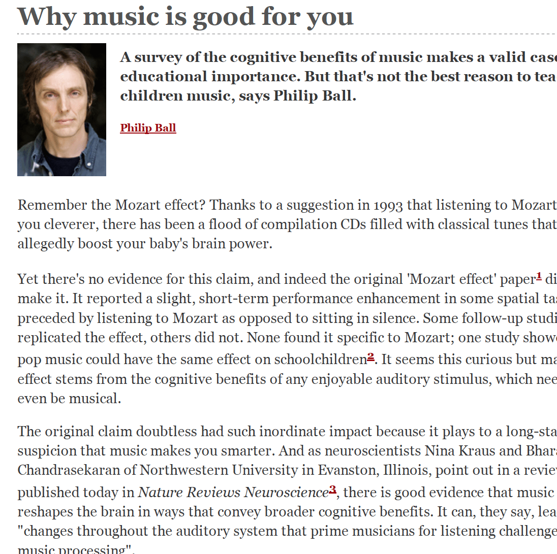 Is music good for you?
